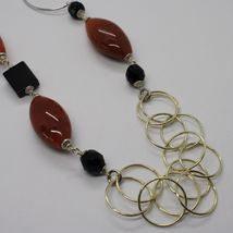 Silver necklace 925, Jasper Oval, Onyx, Length 90 CM, large circles image 4