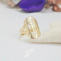 24K Gold Over Sterling Silver Monogram Ring 7/8 inch (ZR90849-GPSS) - $49.95