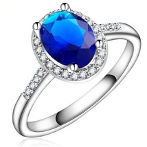 New Platinum White Gold Plated Oval Style Blue Sapphire Wedding Ring For... - $209,74 MXN