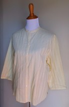 Eddie Bauer ~ Large Yellow Pointelle Button Down Blouse Top - $12.00