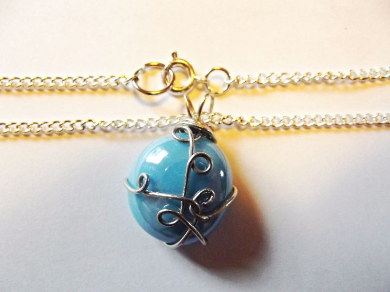 Water Elemental Wire Wrapped Pendant With Chain