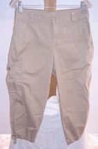 Liz Claiborne Brown Stretch Cotton Capri Cargo pants Misses Size 4 - $20.57
