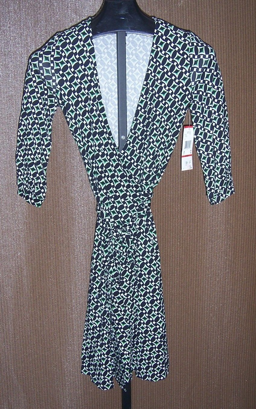 Primary image for NWT Anne Klein black Green & white Print Knit Dress Misses Size small Petite
