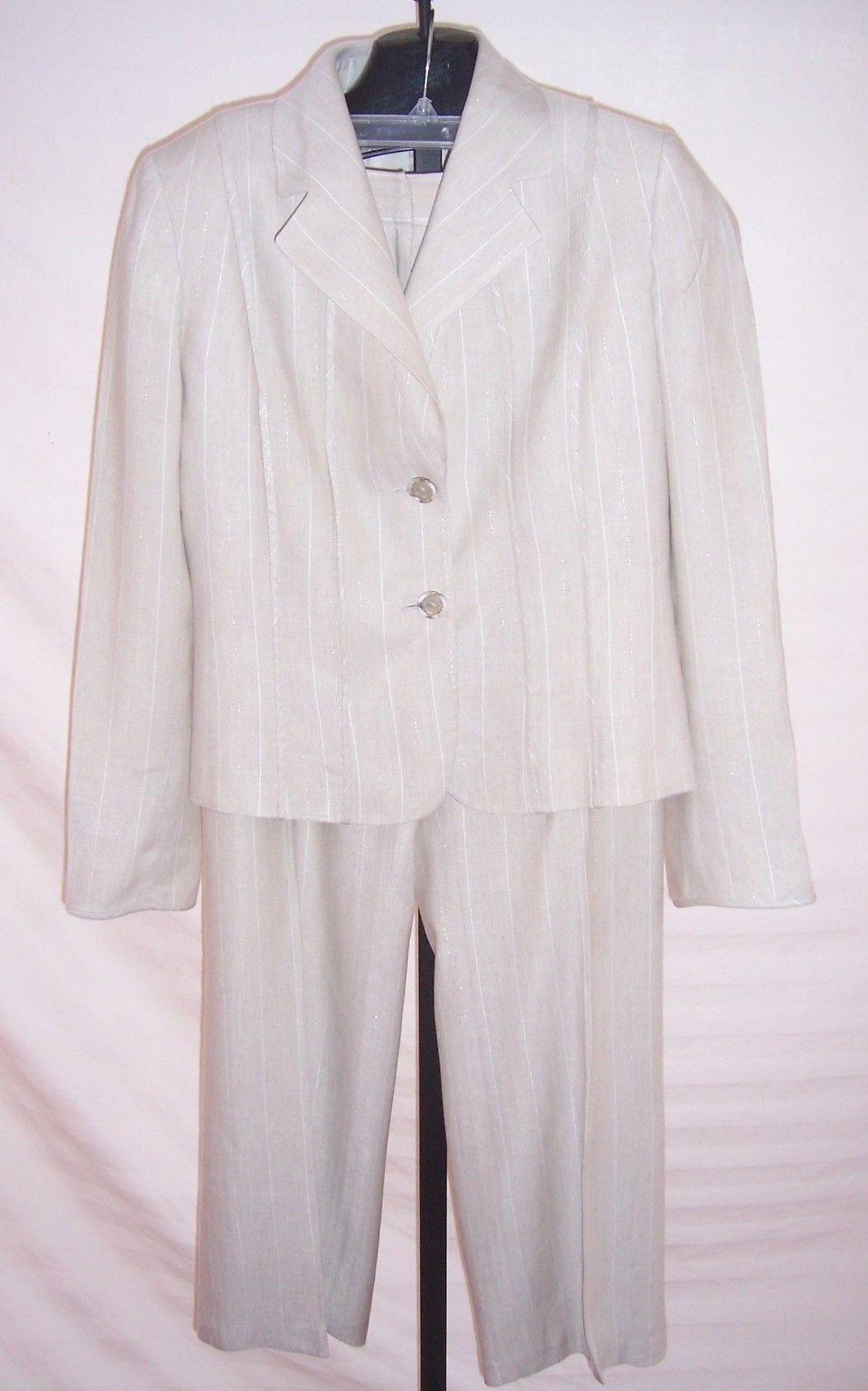 b4a5c0c5b74f0 Tahari Beige Pin Striped Cotton blend Pant and 50 similar items