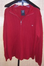 Polo Jeans Co Ralph Lauren red Cotton Zipper Tab Sweater Mens Size Extra... - $19.80