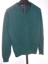 Lands' End Green VNeck Cotton Sweater  Men Size Large  (42 44) - $17.82