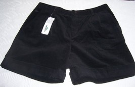 NWT Lacoste Black Corduroy Cuffed Shorts Misses Size 40 (8) - $60.39