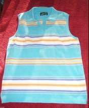 Lauren Ralph Lauren Turquoise Striped Cotton Sweater Vest Misses Size Me... - $12.87