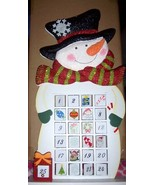 Wooden Snowman Christmas Advent Calendar Glittery Large Santa Reindeer NEW - $30.00