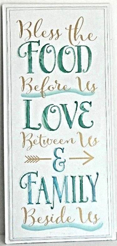 "Primary image for New Inspirational ""Blessing"" FOOD/LOVE/FAMILLY Wall Art Sign Dining Home Decor"