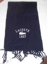 NWT Lacoste Navy Blue Wool Embroidered Fringed Alligator Scarf - $48.51