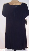 NWT Essentials by ABS Navy Blue Polyester Knit Dress Misses Size Large - $29.70