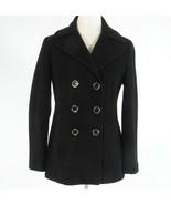 Black wool blend CALVIN KLEIN double breasted long sleeve peacoat 2 - $79.99