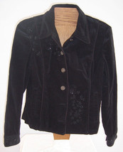 Jones New York Black Velveteen Jacket with Beaded Accents Misses size Me... - $34.65