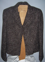 Tahari Brown & White Woven Suit Jacket Acrylic & Wool Blend Misses Size 12 - $62.37