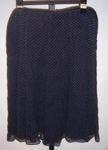 Ann Klein Navy blue with Beige Polka Dots Silk A LIne Skirt Misses Size 4P - $14.85
