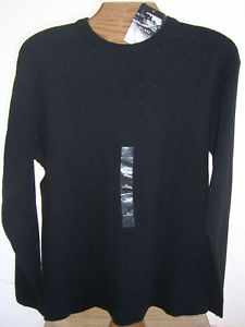 NWT Axcess Claiborne Black Crew Neck Sweater Mens Size medium