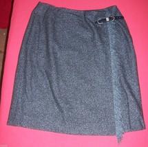 Anne Klein Petites Black & Navy Blue Herringbone Wool Blend Skirt Misses... - $21.78