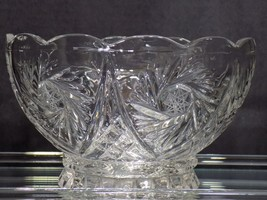 "Vintage Avitra Hand Cut Crystal Pinwheel w Star Patter Scalloped Rim 8"" ... - $37.13"