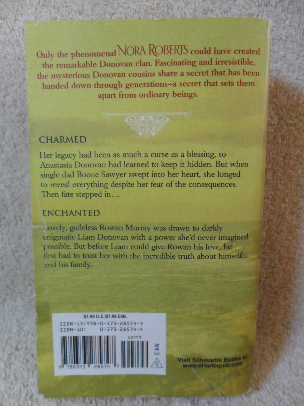 CHARMED & ENCHANTED 2 Classic Donovan Stories by NORA ROBERTS Nice Paperback