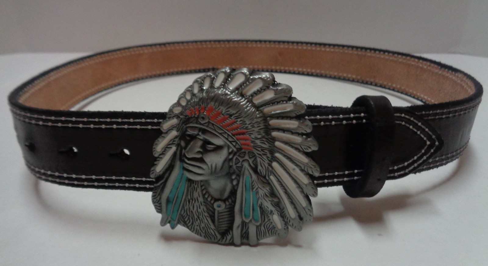 Custom Made Cow Leather Belt Native American Chief Pewter Buckle NEW Sz 34