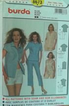 Burda 8673 Pattern Fitted Blouse 4 Designs  Size 8-18   New - Uncut - $7.00