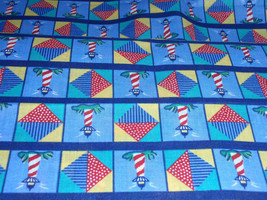 """Bridge Tower Blue, Green, Red, White and Yellow Squares Design  100% Cotton 44""""  - $4.99"""