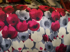 """Apparel Fabric Red, Cream and Gray Polyester Floral Silk Fabric 60"""" Wide Sold by - $8.99"""