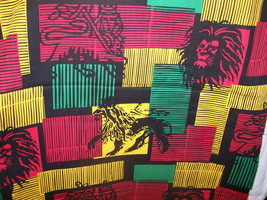"""Ethnic Burnout Lion on Red, Yellow & Black Patchwork 100% Cotton Fabric 43"""" Wide - $12.99"""