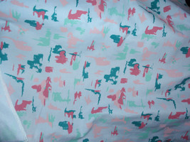"""Print Mulitcolor Pink, Green, Teal 100% Cotton Fabric  48"""" Wide Sold by 1/2 - $8.99"""