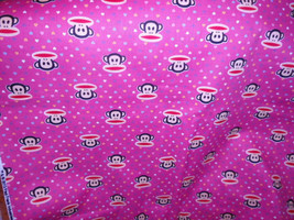 """Paul Frank Monkey- Baby Pink with Colorful Mini Hearts  100% Cotton Fabric  44""""  - $4.99"""