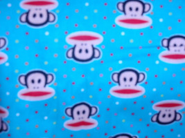Paul Frank Monkey- Baby Blue with Colorful Mini Polka Dots  100% Cotton Fabric   - $4.99