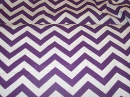 Chevron Medium  Purple on White Background Cotton Fabric By The Half Yard Cotton - $3.99