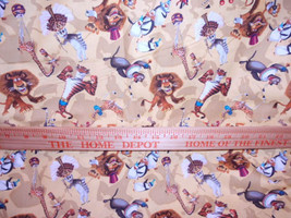 Madagascar 3: Circus Dreamwork Novelty Fabric Yellow Background  100% Cotton Qui - $4.99