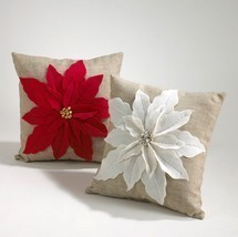 Poinsettia Felt Holiday Decorative Throw Pillow... - $35.99