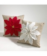 Poinsettia Felt Holiday Decorative Throw Pillow... - £27.92 GBP