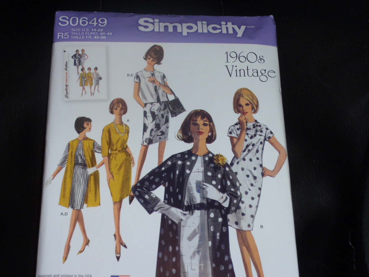 Primary image for Simplicity S0649 Unlined Coat or Vest and Dress Pattern 1960 Vintage Size 14-22