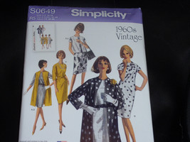 Simplicity S0649 Unlined Coat or Vest and Dress Pattern 1960 Vintage Siz... - $9.00