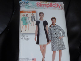 Simplicity S0430 Lined Coat and Color Block Dress Pattern 1960 Vintage Size 6-14 - $12.00