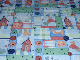 "Farmer Squares Design  100% Cotton 44"" Wide By The Half Yard 1/2 - $4.99"
