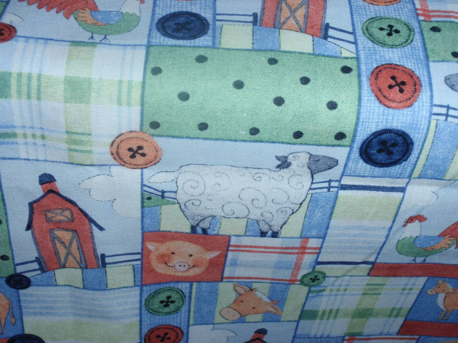 "Farmer Squares Design  100% Cotton 44"" Wide By The Half Yard 1/2"