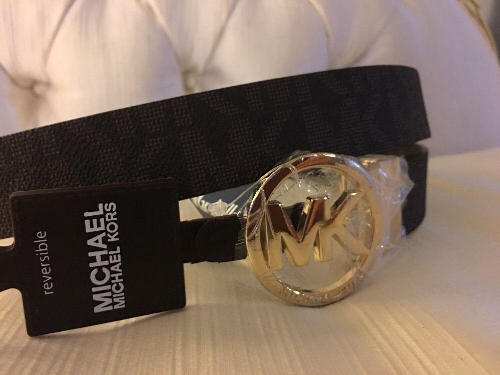 225a93e20f3bb 57. 57. Previous. New MICHAEL KORS Authentic Women Belt reversible  brown black mk logo size L · New MICHAEL ...