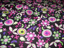 Blooming Floral Garden Fabric 1/2  Yard Cotton by David Textiles - $4.99