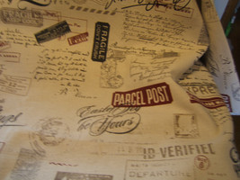Postal Stamps on Decorator Fabric Eastex Greeting Upholstery 1 Yard & 18... - $19.99