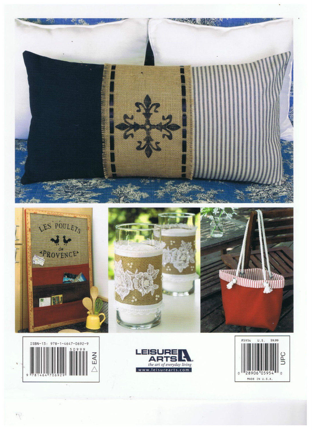 Decorate with Burlap Softback Book by Leisure Arts Stenciling, Sewing, Applique,