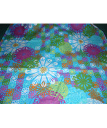 Abstract Floral Print Mulitcolor Blue,Green, Orange, Teal and Yellow 100... - $4.99