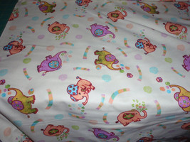 """Rockaby Flannel  Colorful Baby Elephants  100% Cotton Fabric 44"""" Wide Sold by th - $8.99"""
