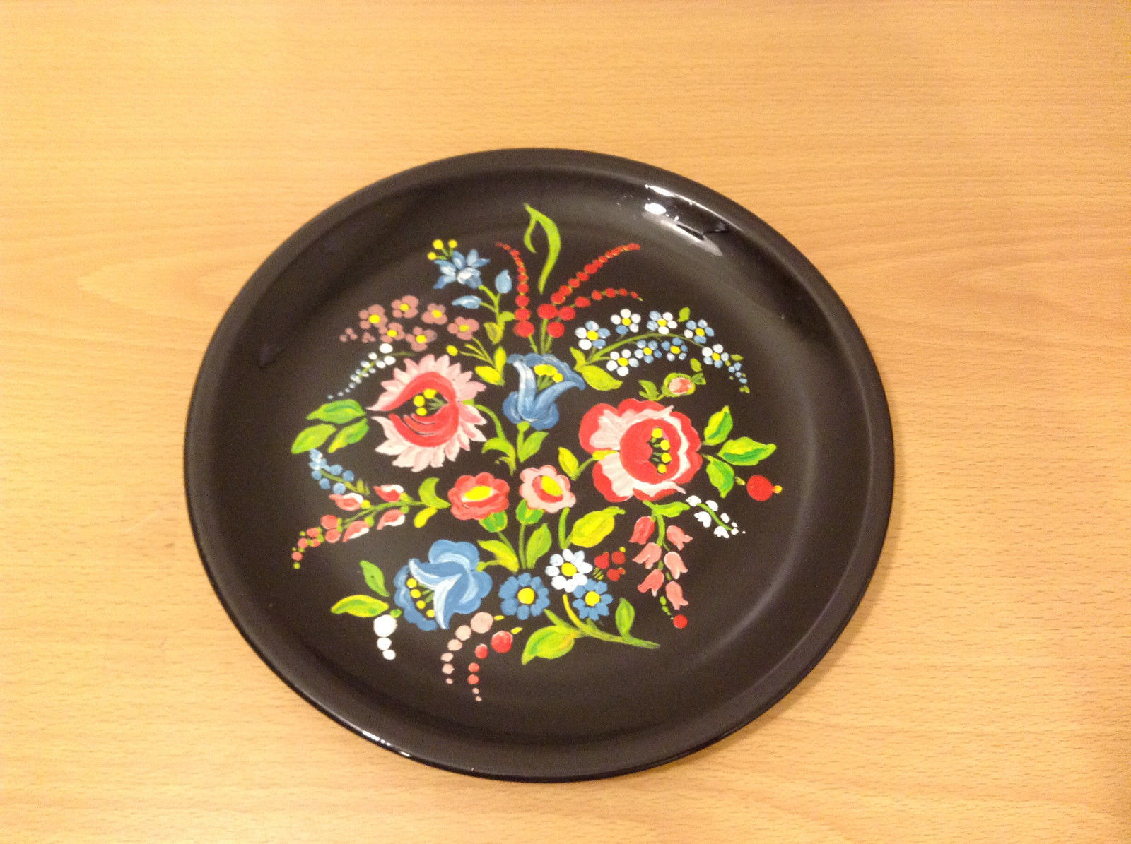 Porcelain Hand painted Alfoldi Porcelan Hungary Black Floral Plate Dish Flowers