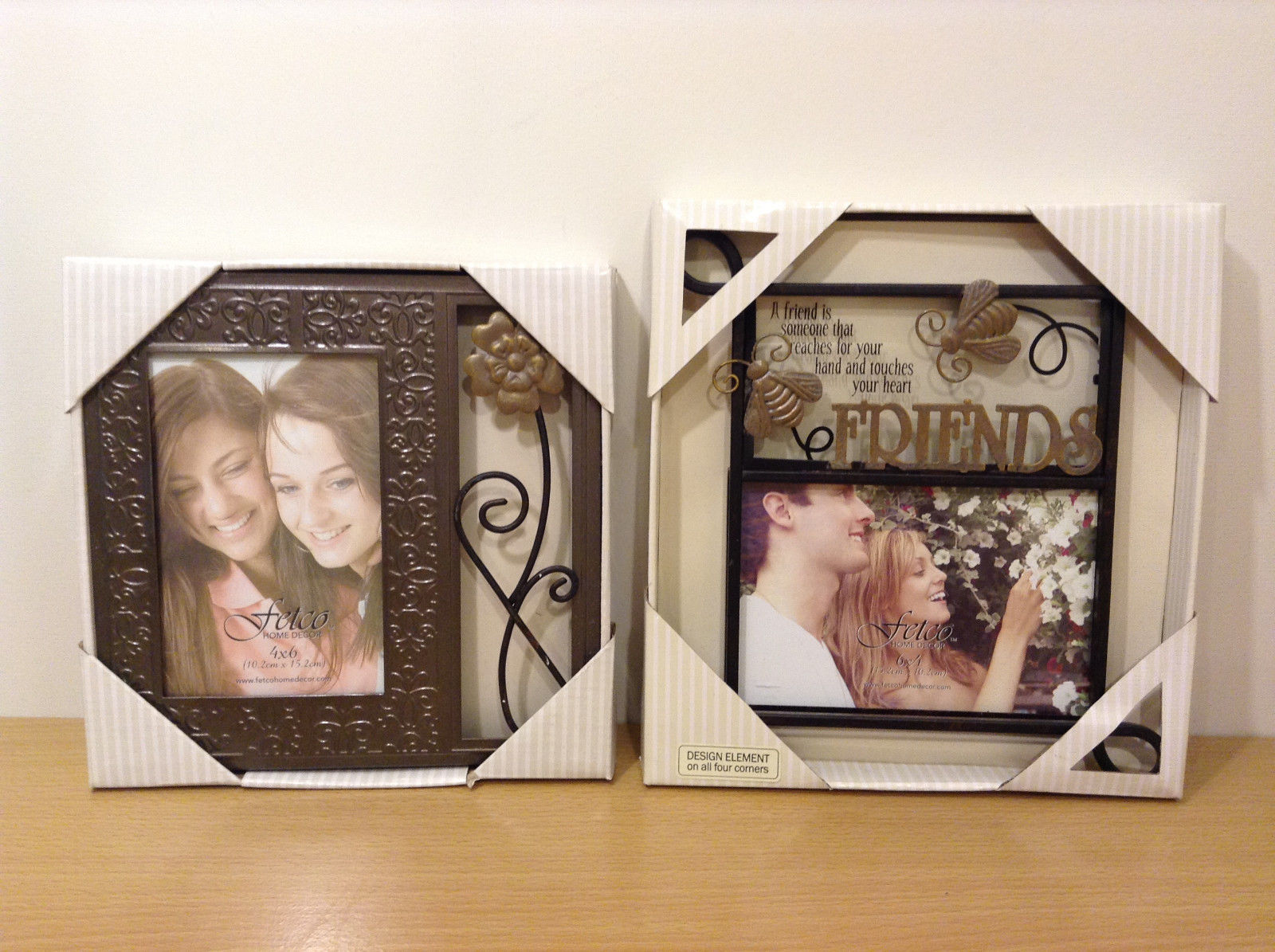 New Fetco Home Decor Friends Photo Frames Rustic Color Metal, Lot of 2, 4x6""