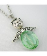 Cat Angel (Green) Glass Beaded Necklace - $9.95